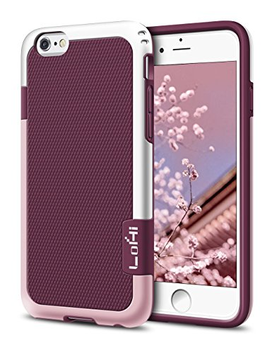 iPhone 6s Plus / 6 Plus Case, LoHi [Extra Front Raised Lip] Hybrid Impact 3 Color Shockproof Rugged Soft TPU Hard PC Bumper Anti-slip Cover 5.5 Inch Wine (Lip Cell Phone Case)