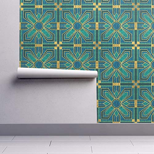Removable Water-Activated Wallpaper - Floral Tiles Art Deco Blue Floral Tiles Floral Tiles Teal Blue Faux Gold by Mel Fischer - 12in x 24in Smooth Textured Water-Activated Wallpaper Test Swatch
