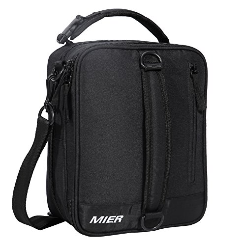 (MIER Insulated Lunch Box Bag Expandable Lunch Pack for Men, Women, Black)