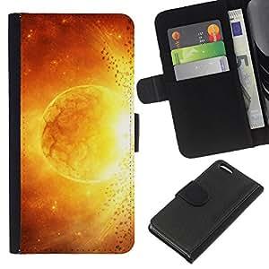 KingStore / Leather Etui en cuir / Apple Iphone 5C / Sun Star Magma Arte Fuego Amarillo Rojo Apocalypse