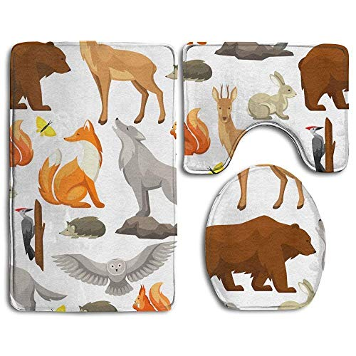 Woodland Forest Animals 3 Piece Bath Rug Set Non-Slip Bathroom Rug Contour Mat Lid Cover for -