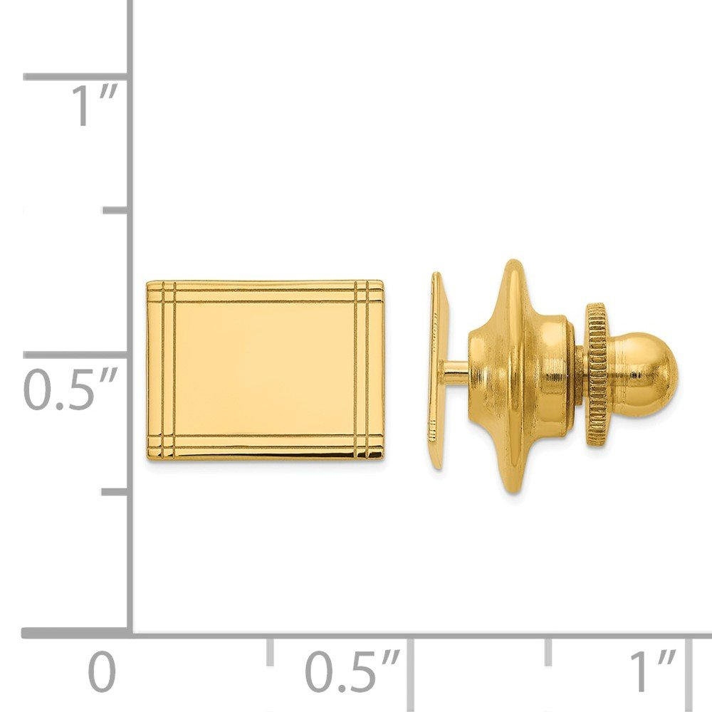 14K Yellow Gold Polished Rectangle Engravable Tie Tac