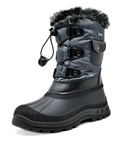 DREAM PAIRS Little Kid Ksnow Grey Black Isulated Waterproof Snow Boots - 2 M US Little Kid (Boots Boys Size Winter 2)