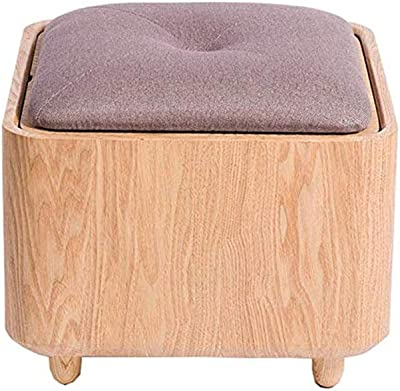 MLX Footstool, Multi-Function Solid Wood Creative Simple Storage Stool Storage Debris Change Shoes Stool Coffee Table Stool (Color : Purple)