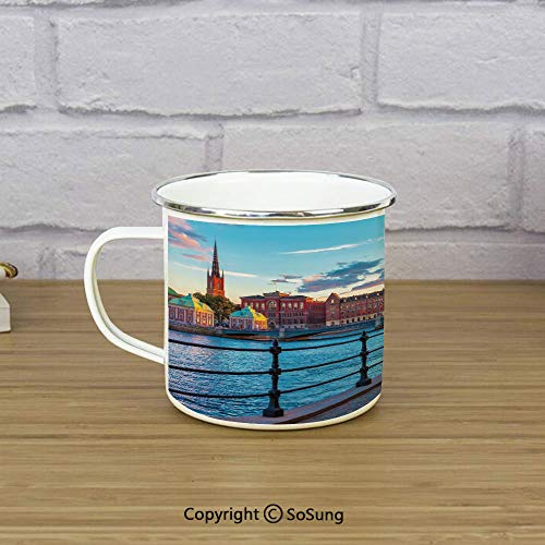 - Cityscape Enamel Camping Mug Travel Cup,Scandinavian Stockholm Old Town Sweden by Lake Gamla Stan View Autumn Day Scenery,11 oz Practical Cup for Kitchen, Campfire, Home, TravelMulticolor