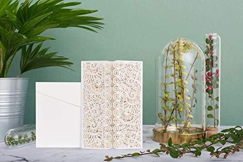 ewtshop® Hochzeit Einladungskarten-Set, edle Grußkarten, Umschläge und Schleife, 20er Set