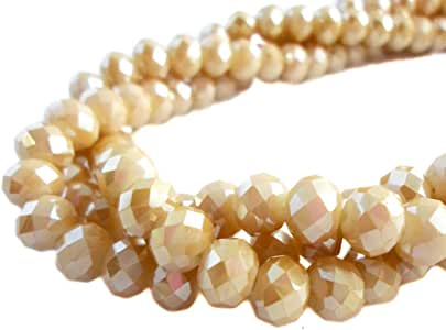 BeadsOne 10mm - 360 pcs - Glass Rondelle Faceted Beads Champagne Matte Brown for jewerly Making findings Handmade jewerly briolette Loose Beads Spacer Donut Faceted Top Quality 5040 (AB C96)