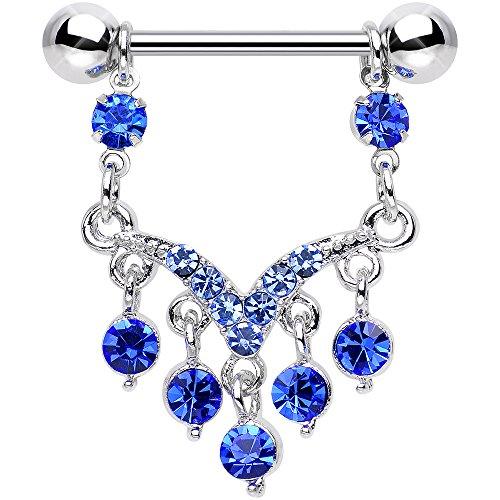 Body Candy Stainless Steel Blue Ornate V Dangle Nipple Ring Set of 2 14 Gauge (Body Dangle Nipple Ring)
