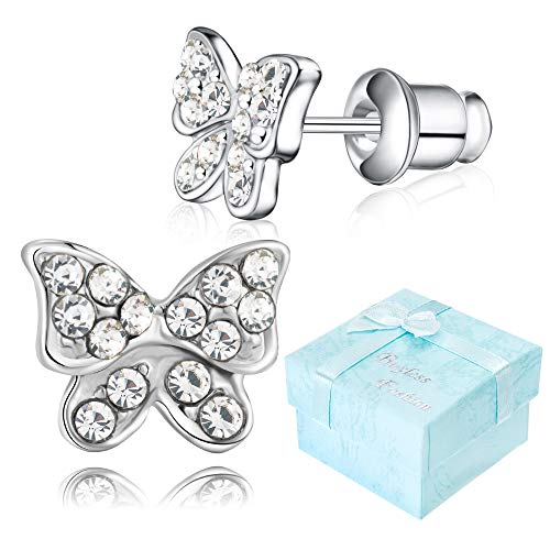 Buyless Fashion Girls Butterfly Stud Earrings Silver Surgical Stainless Steel - E100BTWHT