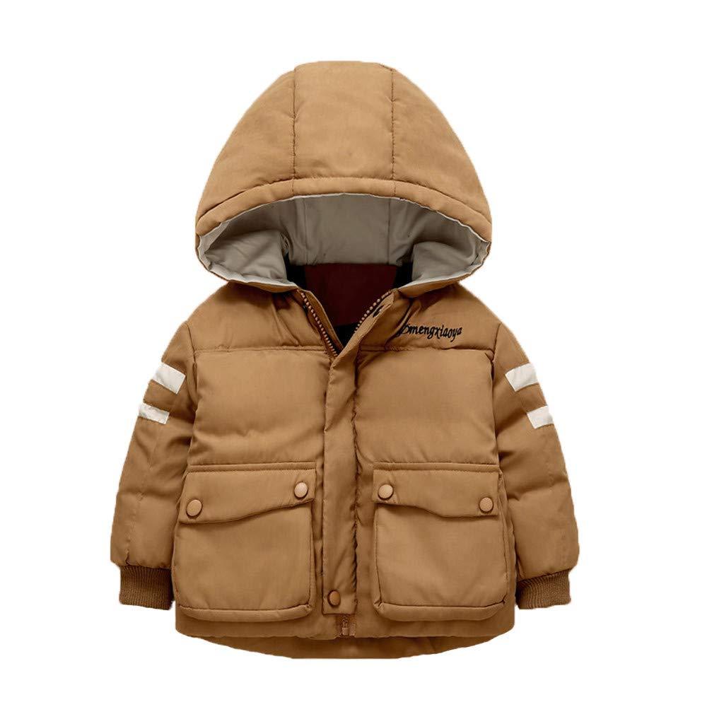 BFYOU Kids Children Winter Letter Cartoon Warm Girl Boys Hooded Jackets Outerwear Coats Coffee by BFYOU_ Girl Clothing