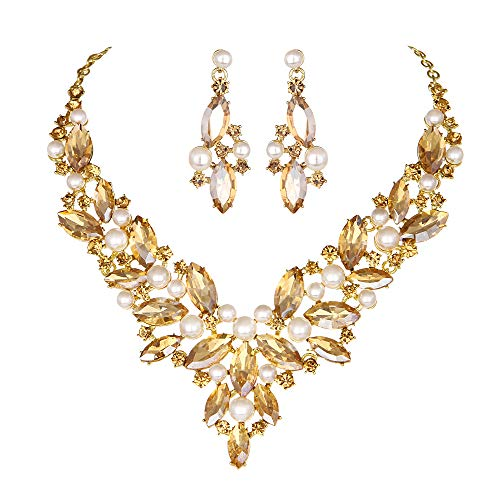 Modbridal Crystal Pearl Wedding Necklace and Earrings Jewelry Sets for Women(Champagne)