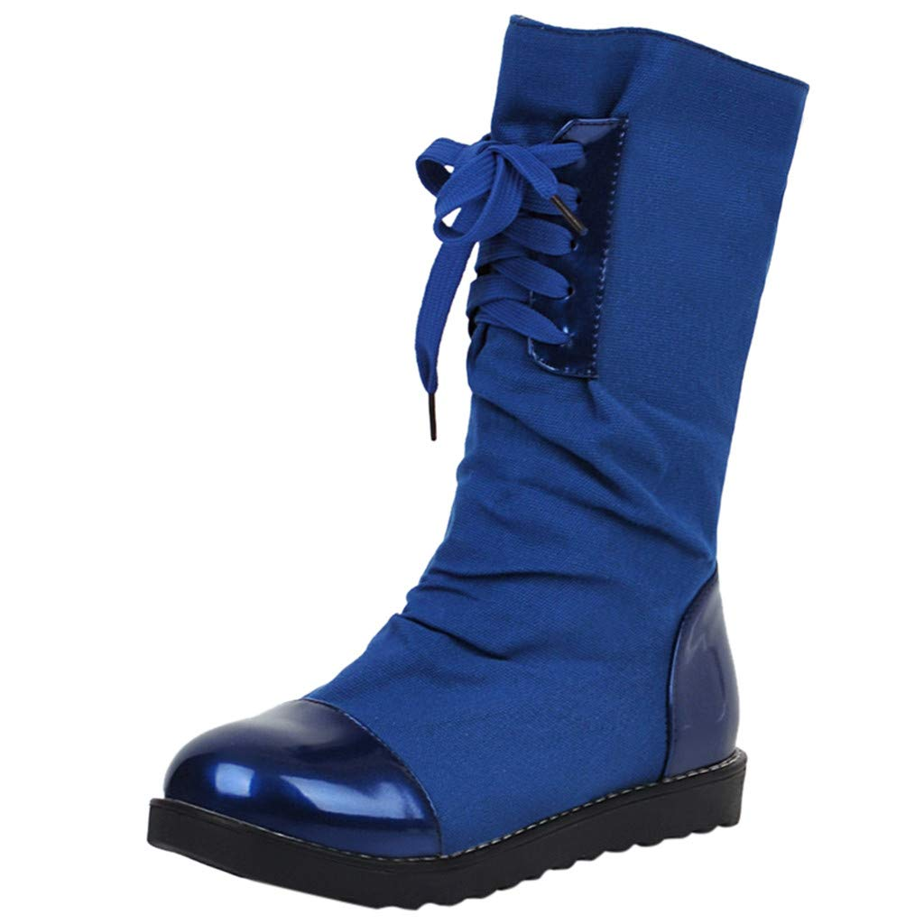 Inverlee Shoes Fashion Warm Short Leather Boot Womens Lace-Up Artificial Leather Patchwork Shoes Blue