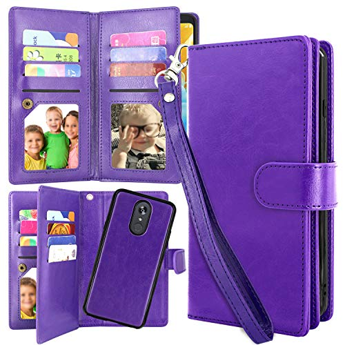 LG Stylo 4 Case, Harryshell Detachable Magnetic 12 Card Slots Wallet Case Shockproof PU Leather Flip Protective Cover Wrist Strap for LG Stylo 4 2018 (Purple)