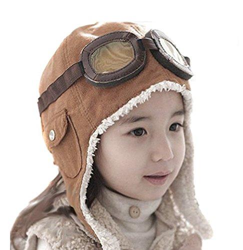 Lined Aviator Costumes Hat (CTKcom 2-Pack Pilot Aviator Fleece Warm Hat Cap with Earmuffs for)