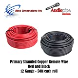 12 GAUGE WIRE RED & BLACK POWER GROUND 50 FT EACH PRIMARY STRANDED COPPER CLAD