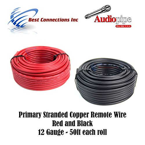Primary Copper Wire - 12 GAUGE WIRE RED & BLACK POWER GROUND 50 FT EACH PRIMARY STRANDED COPPER CLAD