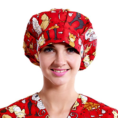 Red Scrub Hat (Outsport Doctor Nurse Surgical Caps Scrub Hats Home Cotton Red Print Cat for)