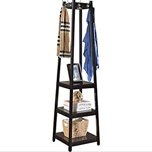 BS Coat Rack Stand with 3 Shelf Storage Free Standing 8 Hooks Wood Entryway Corner Hall Hat Clothing Rack Organize Living Room Home and Office & eBook by BADA Shop