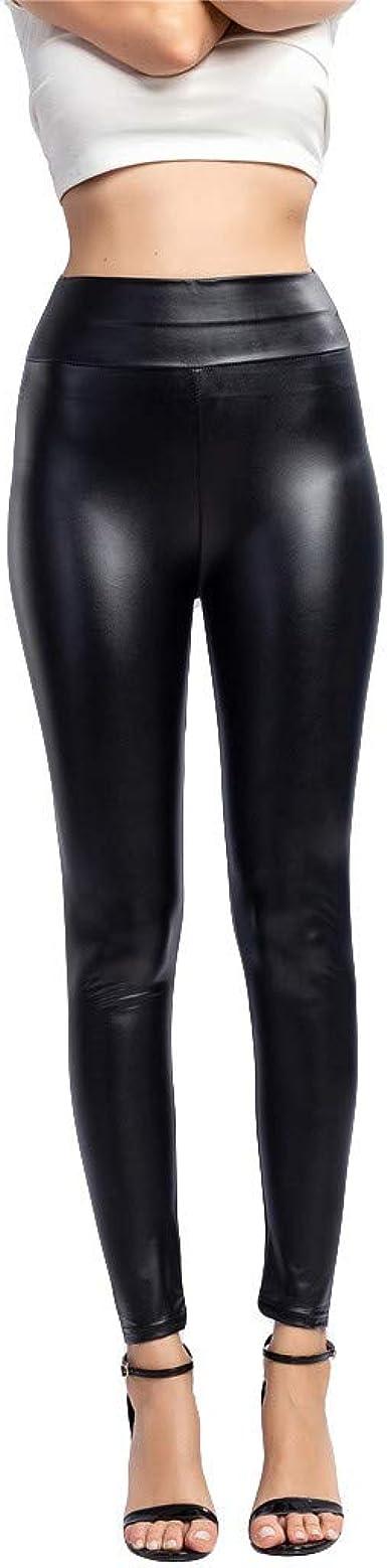 Pantalon en Cuir GreatestPAK Legging Noir Mince pour Femme Fitness Sports Workout Pantalons de Gymnastique