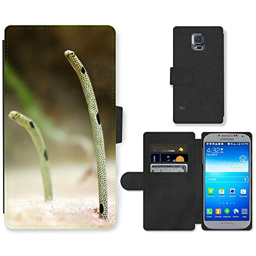 Just Phone Cases Flip PU Leather Wallet Case with Credit Card Slots // M00128333 Aquarium Colorful Eel Environment // Samsung Galaxy S5 S V SV i9600 (Not Fits S5 ACTIVE) ()