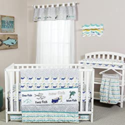 Trend Lab Dr. Seuss New Fish 5 Piece Bedding Set, Blue, Green and Gray