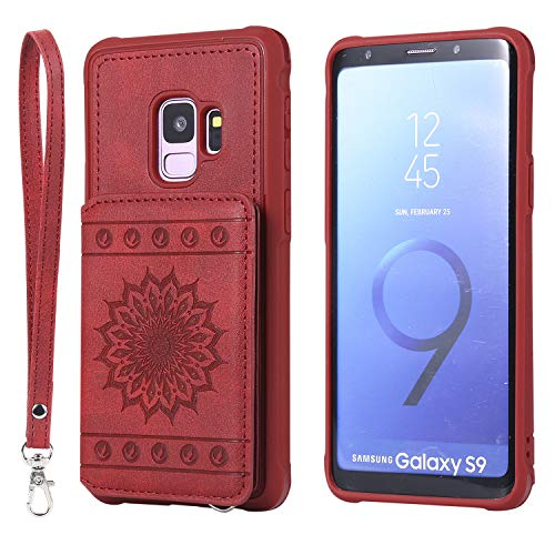 Galaxy S9 Case,DAMONDY Luxury Flower Sunflower Wallet Purse Card Holders Design Cover Soft Shockproof Bumper Flip Leather Kickstand Clasp Wrist Strap Case for Samsung Galaxy S9 2018-Red