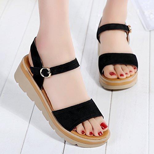 Moda Mujer verano sandalias confortables tacones altos,40 negro Black
