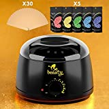 natural hair heater - Wax Warmer Hair Remouval Kit - Wax Heater with 5 Hard Wax Beans and 30 Applicator Sticks - Professional and Home Waxing Kit for Women and Men - Body - Face - Bikini Hair Removal