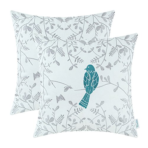 pack of 2 calitime cotton throw pillow cases covers for bed couch sofa cute bird in gray garden embroidered 18 x 18 inches teal