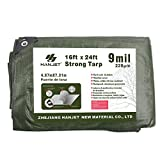 Hanjet Heavy Duty Tarp 16' x 24' 9-mil Waterproof Poly Reinforced Tarp Cover Tent Shelter Camping Tarpaulin with Grommets Forest Green