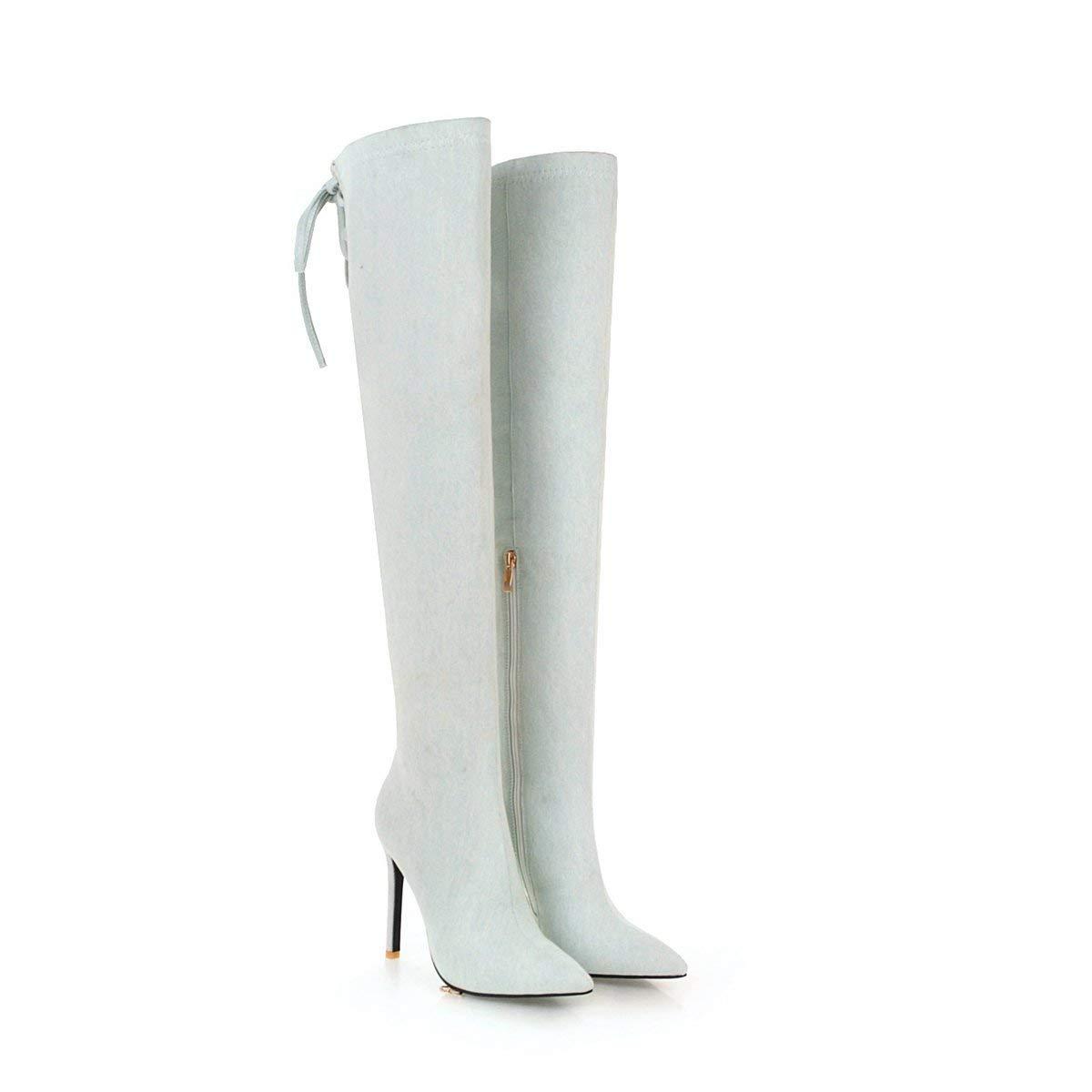 Damen Stiletto Heels Denim-Stoff hoch über dem Knie Lange Stiefel