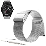 22mm Mesh Stainless Steel Milanese Loop Replacement Watch Band For LG G Watch W100, LG Watch Urbane W150, LG G Watch R W110 2015 (YESOO Retail Packaging - 180 Days Warranty) (Loop Silver, 22mm)