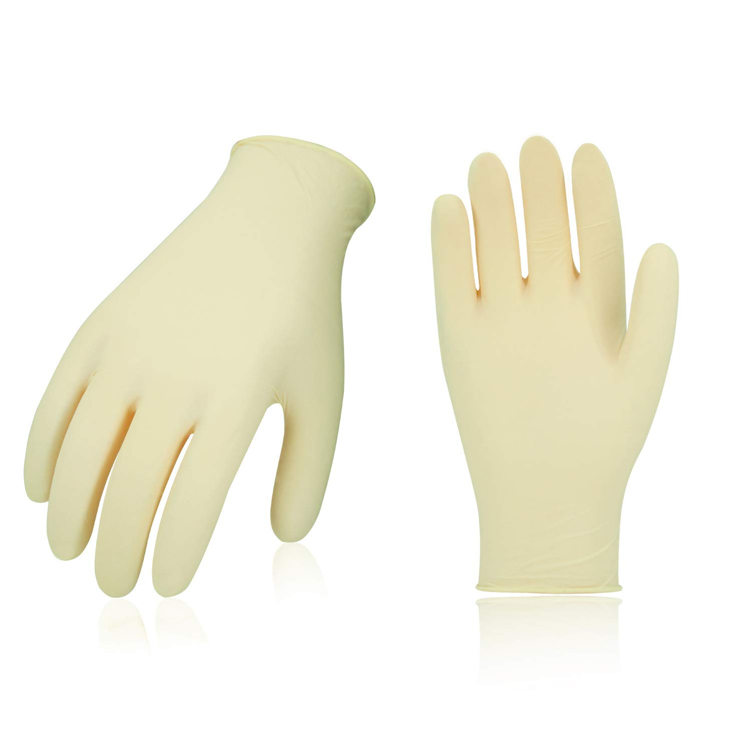 Vgo 100PCS Disposable Latex Powder-Free General Purpose, Foodservice Glove (Size L,White,RB5138) Laborsing Safety Products Inc.