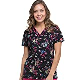 Dickies EDS Signature Women's V-Neck Floral Print Scrub Top X-Large Print