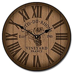 Wine Barrel Lid Wall Clock, Available in 8 sizes, Most Sizes Ship the Next Business Day, Whisper Quiet.