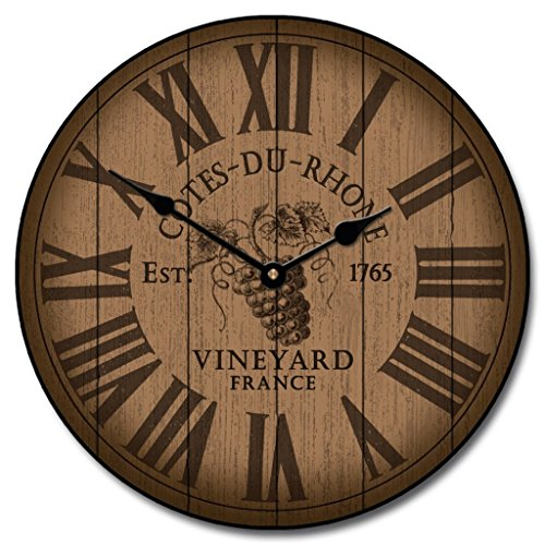 Barrel Clock - Wine Barrel Lid Wall Clock, Available in 8 sizes, Most Sizes Ship the Next Business Day, Whisper Quiet.