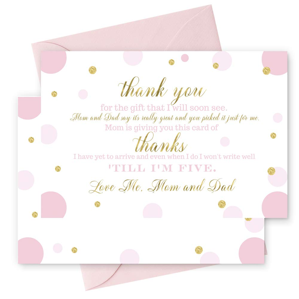 Amazon.com: 15 Pink and Gold Thank You Cards with Blush Envelopes  Stationery for Girls Baby Shower Gorgeous Abstract Dot Party Theme: Health  & Personal Care