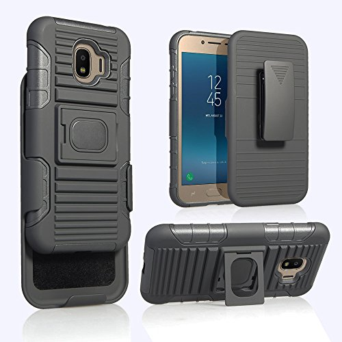 For Samsung Galaxy J2 PRO (2018), Grand Prime Pro 2018 [SM-J250F] Magnet Mount Ready Ring Armor Holster 5 in 1 Rugged Case With Ring Holder Kickstand + Belt Clip (BLACK)