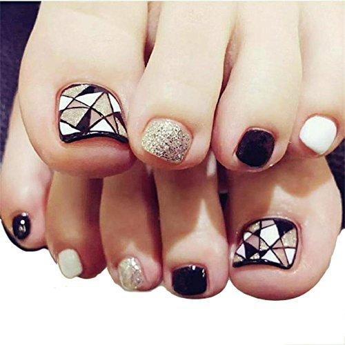 Acrylic False Toenails Shinning Fake Toe Nails Artificial Glitter Foot Nails for Women 24pcs/set Wangmeili