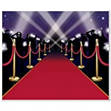 Beistle 52150 Red Carpet Insta Mural. This mural is made of a thin plastic material and is 5 feet tall by 6 feet wide. It has a complete look of a red carpet with stanchions and paparazzi. Hang on the wall for a great view!.