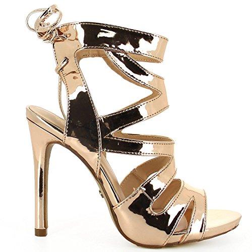 Ideal Shoes Sandale mit Schnürung Effekt Nagellack mit Vor gekreuzt Viola Champagne