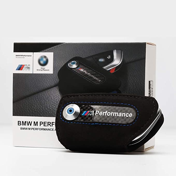 Bailunte Compatible BMW Car Key case M Performance Car Smart Remote Key Fob Cover Soft Leather Key Fob Case Key Bag Fits BMW Accessory