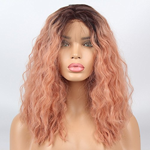 (vvBing Short Bob Lace Front Wig Synthetic 2 Tones Auburn Ombre Dark Roots to Auburn Wig Glueless Wave Hair Heat Resistant Fibers Middle Parting Shoulder Length Hair Wave Short Bob Wigs 14Inch )