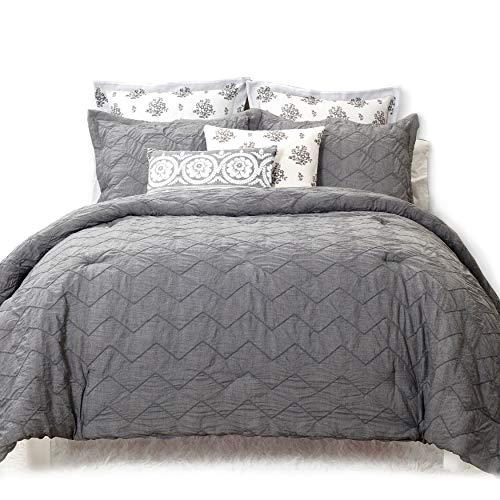 ena Chevron Pinch Pleat Designer Embellished Comforter Set, Cotton, Gray (King) ()