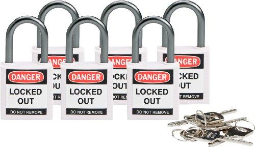 Brady 118932 White, Brady Compact Safety Lock - Keyed Different (6 Locks) by Brady