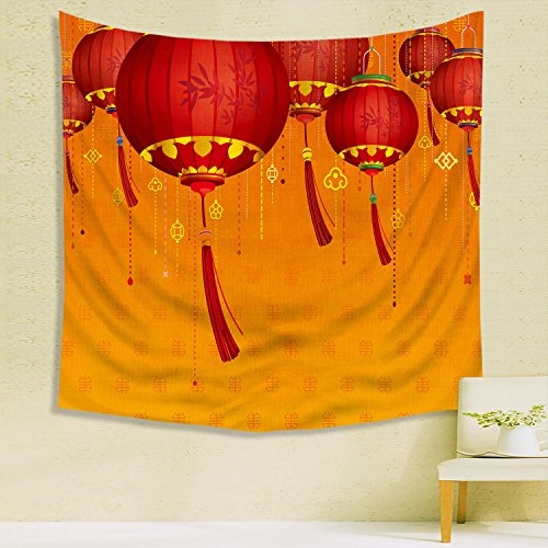 Tribal Life TapestryLanternDecor Decorative Chinese Lanterns Hang on the Air New Year Asian Art Style Graphic Design Dining Room Kitchen Rectangular Table Cover Red Orang Headboard Home Decor (Blanket Green Lantern)
