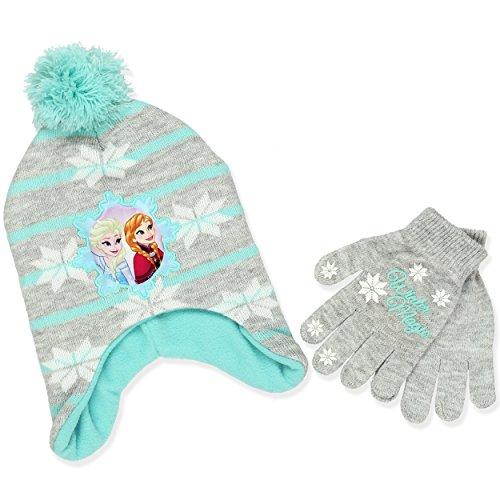 Frozen Elsa and Anna Girls Beanie Hat and Gloves Set (Light Grey)