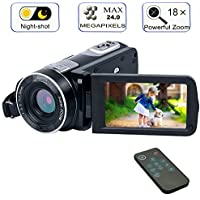 Digital Camcorder with IR Night Vision, WEILIANTE Full HD Digital Video Camera 24.0Mega Pixels 18X Digital Zoom Mini DV ( Two Batteries included)