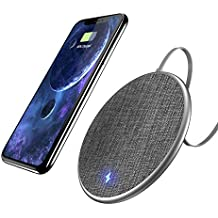 Auckly Fast Wireless Charging Pad, 10W Jean Fabric Wireless Charger for iPhone 8/8 Plus/X and Samsung Galaxy Note8/5/S8/S9/S8 Plus/S7/S7edge/S6/S6 edge, Nexus 4/5/6/7, LG and Other Qi Ena