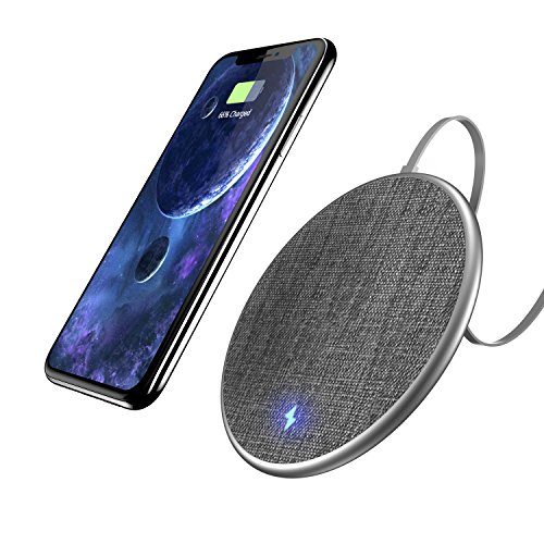 Fast Wireless Charging Pad, Auckly 10W Jean Fabric Wireless Charger for iPhone 8/ 8 Plus/ X and Samsung Galaxy Note8/ Note5/ S8/ S8 Plus/ S7/ S7edge/ S6/ S6 edge, Nexus 4/5/6/7, LG and Other Qi Ena